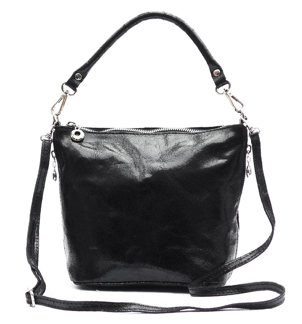 e2f6b9e6d8 Shoulder Bag Genuine Leather BLACK Made in Italy Cross Body Hand Bag ...